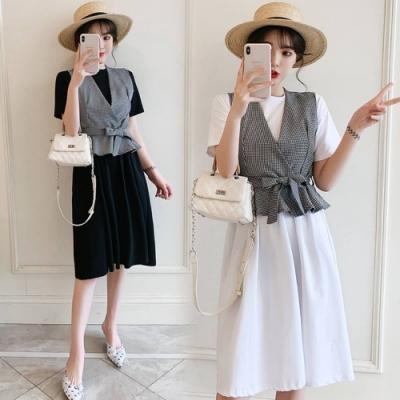 中大尺碼格子V領腰綁帶背心圓領棉質洋裝套裝XL~4L-Ballet Dolly