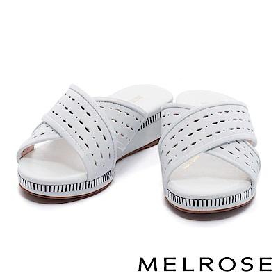 拖鞋 MELROSE 簡約休閒交叉沖孔羊皮厚底拖鞋-白