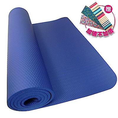 【SGS國際認證】NBR 專業雙人加寬雙壓紋10mm瑜珈墊.睡墊(藍)