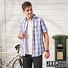 JEEP 造型刺繡格紋短袖襯衫-藍色