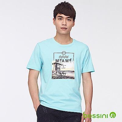 bossini男裝-印花短袖T恤29粉藍