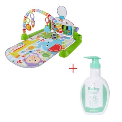 費雪可愛動物小鋼琴健身器+台塑生醫Dr s Formula 嬰幼童奶瓶洗潔劑罐裝1罐