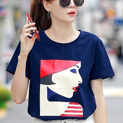 初色  女人插畫頭像短袖T恤-藏青-(M-2XL可選)