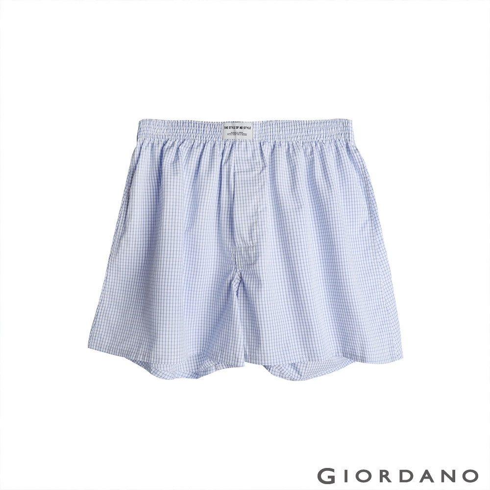 GIORDANO 男裝平織寬鬆四角褲 - 03 藍/白格紋