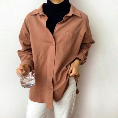 La Belleza寬版素色水洗棉單口袋微挺版寬鬆開釦襯衫