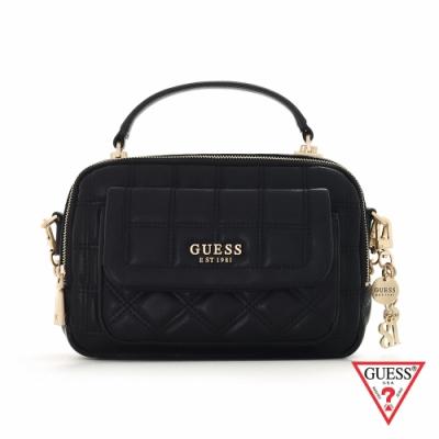 GUESS-女包-時尚格紋壓印鍊條相機包-黑 原價2890