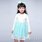 Mini Jule 洋裝  花草刺繡蕾絲下擺長袖蓬蓬裙(藍)