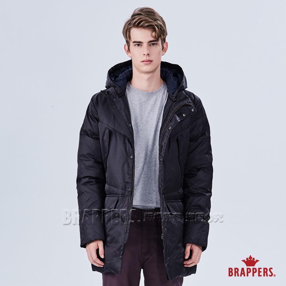BRAPPERS 男款 可拆帽長版羽絨外套-黑