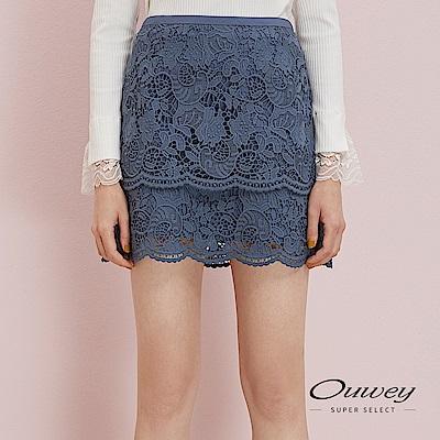 OUWEY歐薇 層次感剪接花藤水溶蕾絲褲裙(藍)