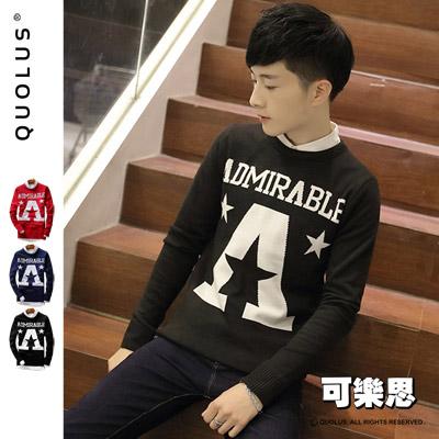 可樂思 學院風 A字母英文字樣 修身 薄針織衫 毛衣