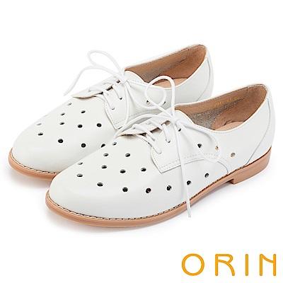 ORIN 復古潮流 透氣洞洞牛皮綁帶牛津休閒鞋-白色
