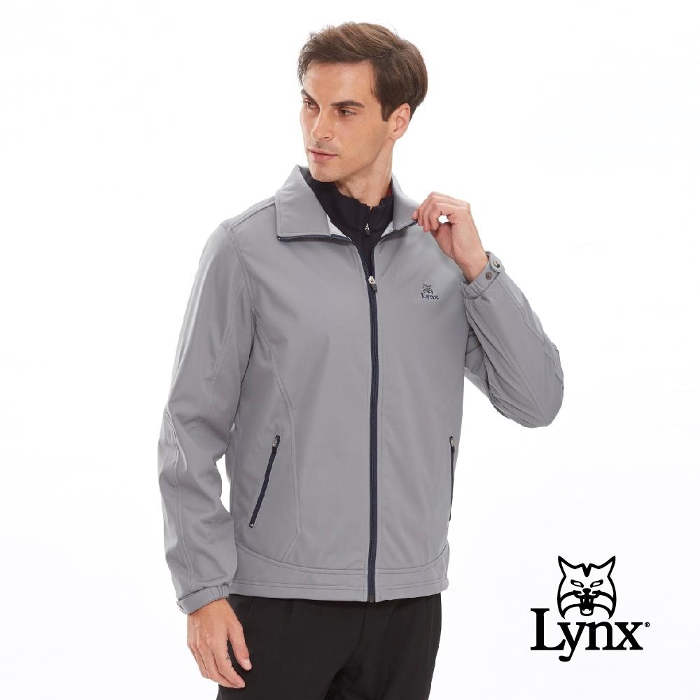 【Lynx Golf】男款三層貼合防水防風保暖素面長袖外套-灰色