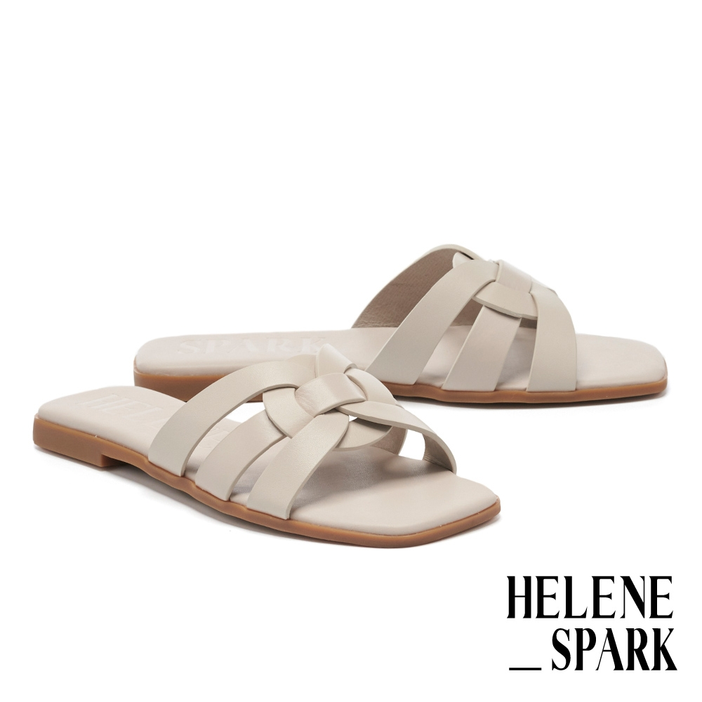 拖鞋 HELENE SPARK 簡約隨興多條帶牛皮方頭平底拖鞋-灰