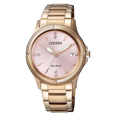 CITIZEN Eco-Drive 玫野佳麗晶鑽時尚女錶(FE6053-57W)-32mm