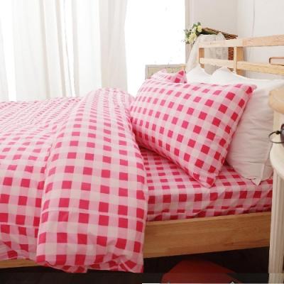 BUHO 雙人加大三件式100%純棉床包組(輕日寓所-紅粉)