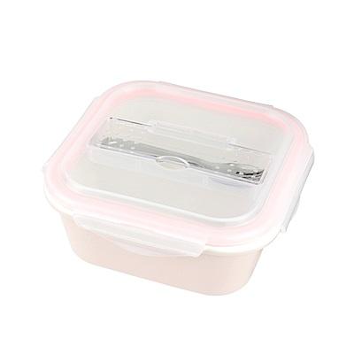 美國Winox 樂瓷陶瓷方形保鮮盒2格960ML-附餐具(2色可選)