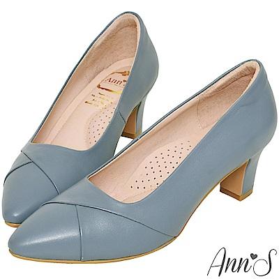 Ann'S此生最好穿-頂級小羊皮備受呵護跟鞋-藍