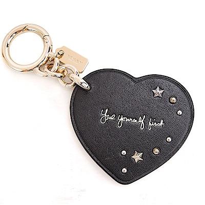 COACH 專櫃款鉚釘愛心造型鑰匙圈(黑)