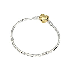 Pandora 潘朵拉 18k鍍金愛心扣頭 925純銀 蛇鍊手鍊手環