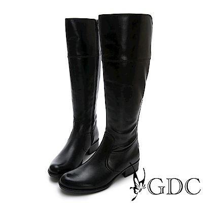 GDC-真皮基本百搭實穿時尚歐風長筒靴-黑色