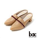bac愛趣首爾 - 織帶裝飾粗跟穆勒鞋半包鞋-卡其