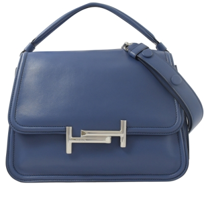 TODS DOUBLE T系列經典T字牛皮翻蓋兩用斜背包(藍)