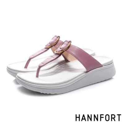 HANNFORT Ultra Comf 4D 羊皮五金厚底拖鞋-女-霧粉