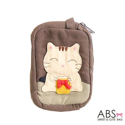 ABS貝斯貓 蝴蝶結貓咪 雙層零錢包 證件包(咖啡)88-111