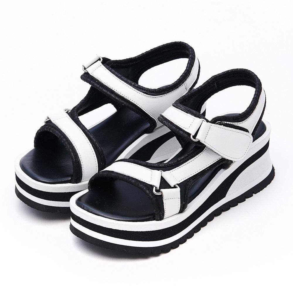 G.Ms. MIT系列-工字魔鬼氈牛皮厚底楔型涼鞋-白色