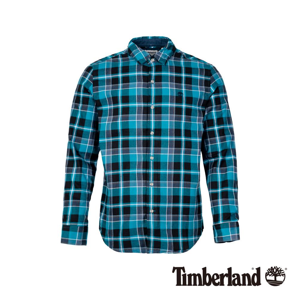 Timberland 男款藍黑法蘭絨格紋長袖襯衫|A1NMF
