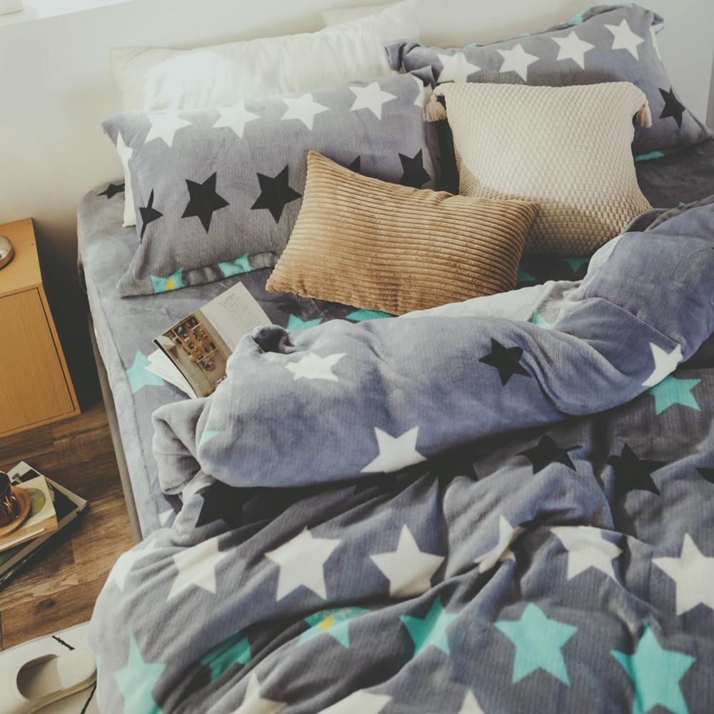 絲薇諾 星情 加大四件式-法蘭絨 鋪棉加厚床包被套組
