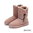 達芙妮DAPHNE 短靴-原色長毛內裡佐流蘇厚底短靴-粉