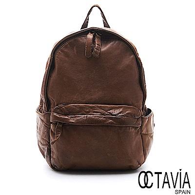 OCTAVIA 8 真皮 - 自慢包 經典水洗仿舊牛皮後背包 - 十分深褐