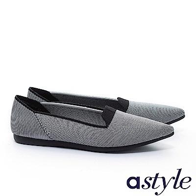 平底鞋 astyle 自然純粹系列 極簡主義百搭純色尖頭飛織平底鞋-黑