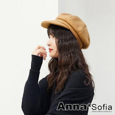AnnaSofia 日式厚感毛呢 報童帽貝蕾帽(黃駝系)