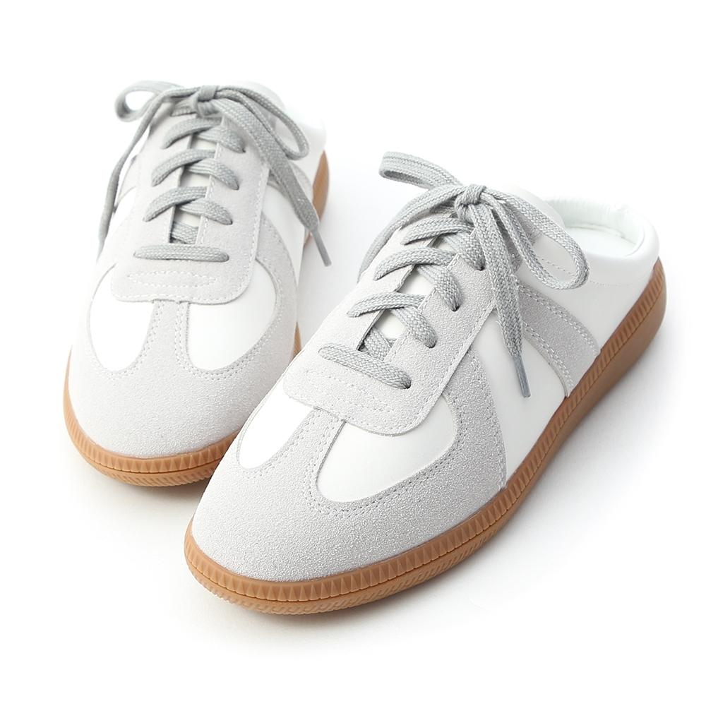 D+AF 活力宣言.麂皮拼接保齡球穆勒鞋*灰