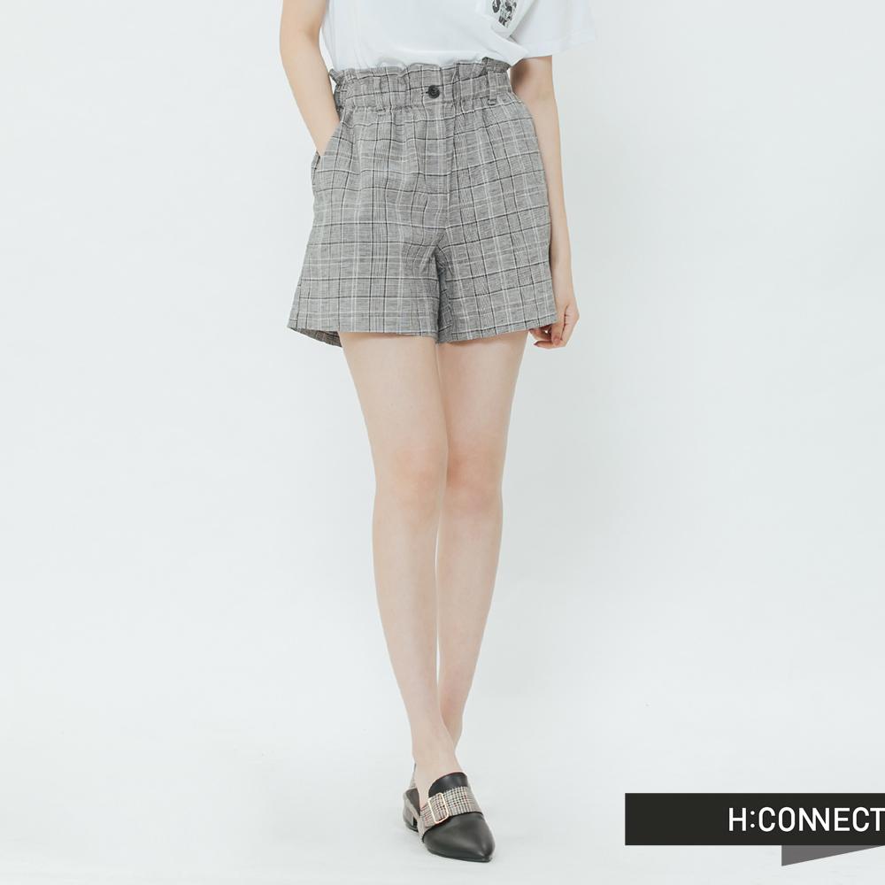 H:CONNECT 韓國品牌 女裝-知性格紋棉麻短褲-黑