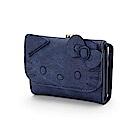 Sanrio HELLO KITTY時尚丹寧風刺繡鑲飾PU皮革三折短皮夾(大臉)