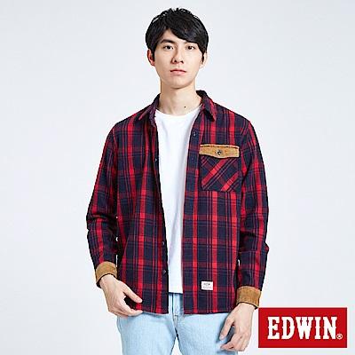 EDWIN 燈芯絨格紋襯衫-男-朱紅色