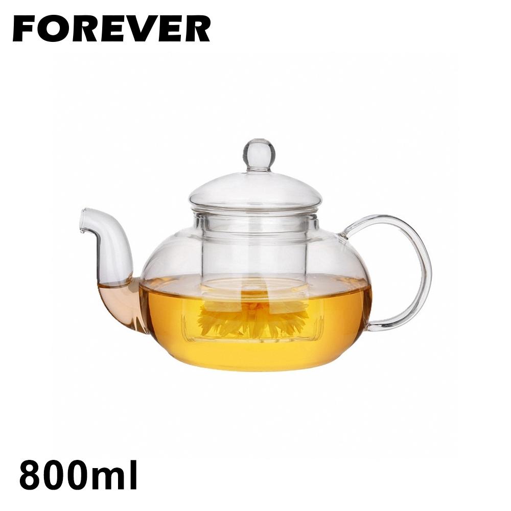 日本FOREVER 英式耐熱玻璃濾網花茶壺800ML(快)
