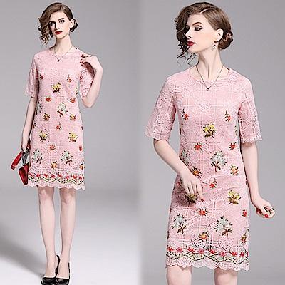 【KEITH-WILL】翔蝶掠情刺繡蕾絲洋裝