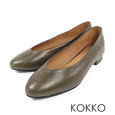 KOKKO - 蒙布朗之約手工全真皮平底鞋-寶石綠