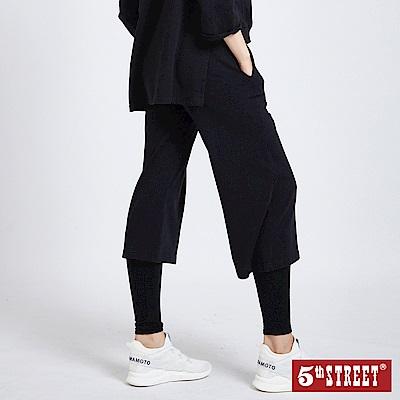 5th STREET 簡約印花休閒寬褲-女-黑色