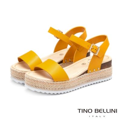 Tino Bellini巴西進口完美工藝編織厚底涼鞋_黃