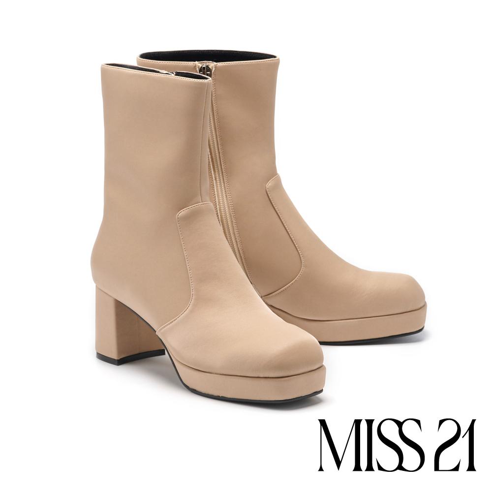 短靴 MISS 21 純色柔嫩氣質科技緞布方頭粗跟短靴-裸膚