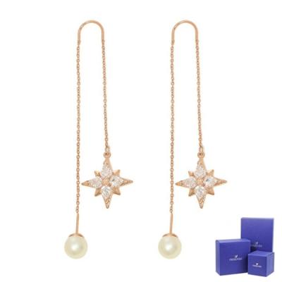 SWAROVSKI 施華洛世奇 Symbolic璀璨水晶繁星珍珠玫瑰金色垂墜耳環