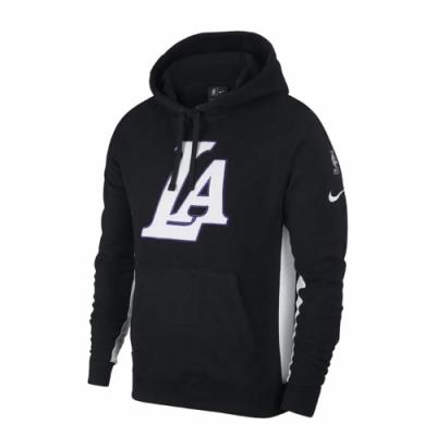 Nike 帽T Los Angeles Lakers 男款 洛杉磯 湖人隊 連帽上衣 刷毛保暖 LA 黑 白 AJ2858011