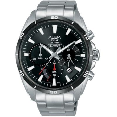 ALBA雅柏酷黑太陽能計時手錶(AZ5003X1)