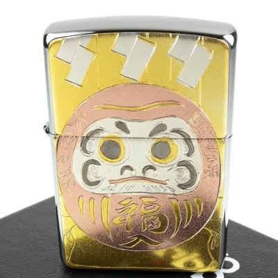 ZIPPO 日系~傳統藝術-達摩不倒翁圖案電鑄板貼片加工打火機