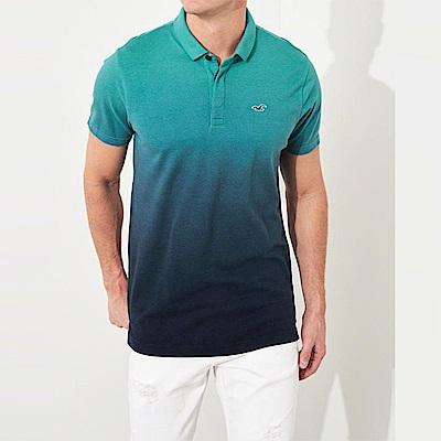 海鷗 Hollister HCO 經典電繡標誌短袖Polo衫-漸層藍綠色